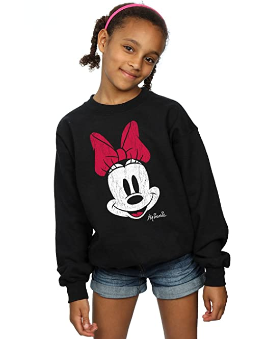 Disney niñas Minnie Mouse Distressed Face Camisa De Entrenamiento: Amazon.es: Ropa y accesorios