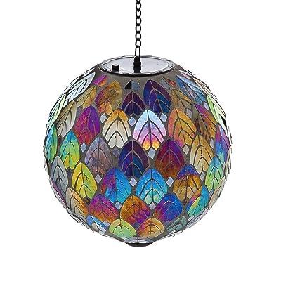 """Evergreen Garden Feathered Mosaic Hanging Glass Solar Gazing Ball - 8""""L x 8""""W x 13""""H. : Garden & Outdoor"""