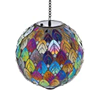 Evergreen Feathered Mosaic Hanging Solar Gazing Ball