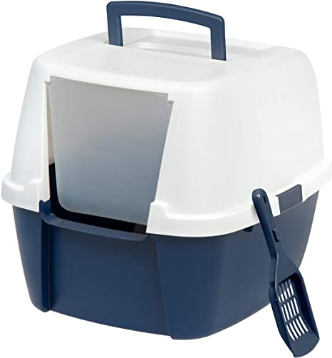 Cat Litter Box Open Top Hooded Jumbo Giant Covered Kitty House with Scoop.IRIS