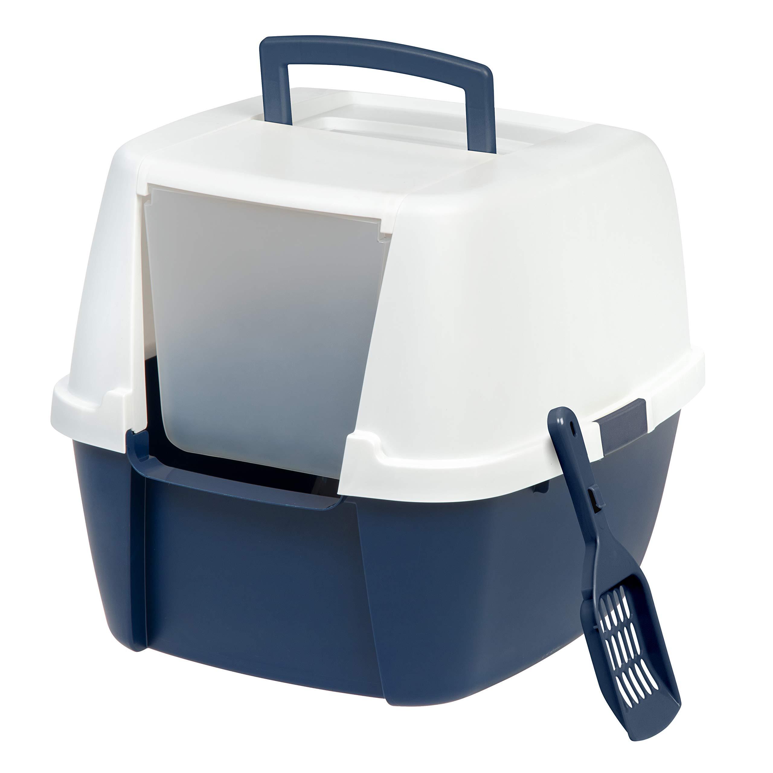 IRIS Jumbo Hooded Litter Box with Scoop, Navy by IRIS USA, Inc.