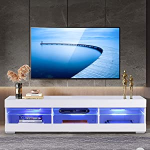 Moerae 57'' TV Unit Cabinet Stand, with LED Lights&Storage, High Gloss Shelves Furniture Home Living Room and Bedroom, in White