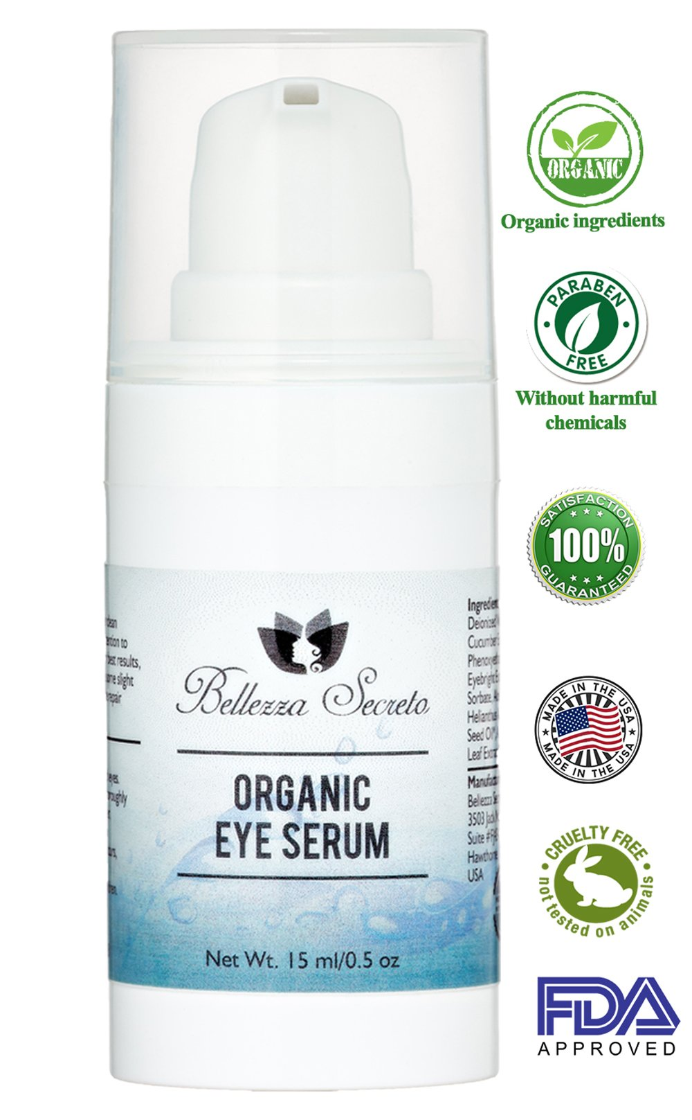 Organic Eye Serum - Retinol, hyaluronic acid- Enriched with Omega-6, Vitamin C & E and Essential Lipids - for Dark Circles and Puffiness, Wrinkle, Fine Lines, Bags, Made in the USA, FDA certified