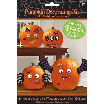 Pumpkin Decorating Kit Makes 4 Jack O Lantern Faces Includes 24 Foam Stickers 2 Wooden Sticks
