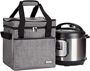 HOMEST Travel Bag for Instant Pot Pressure Cooker 6 Quart, Tote Carrying Case with Foil Liner, Easy to Clean, Grey (Patent Pending)