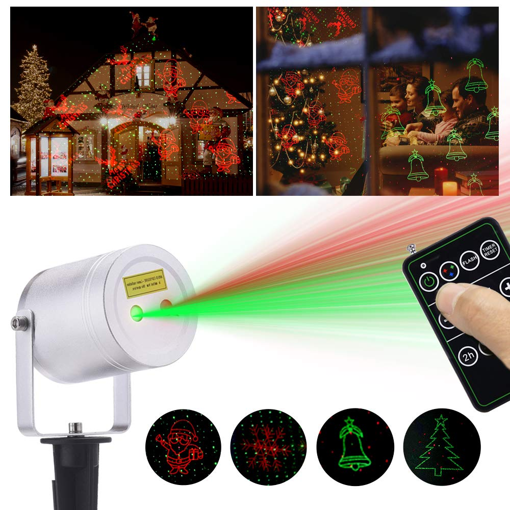 Ominilight Laser Christmas Light, Aluminum Alloy Star Projector Shower 6 in 1 Pattern, Remote Contol, Waterproof Landscape Lighting, Outdoor Decorations Easter Day