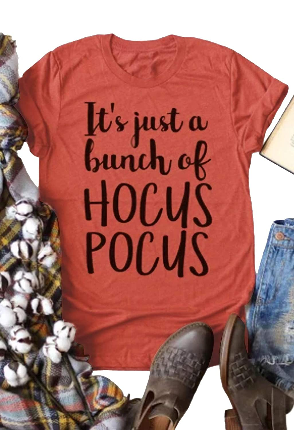 Light Brown Women It Just A Bunch Hocus Pocus Halloween TShirt Short Sleeve ONeck Top Tee