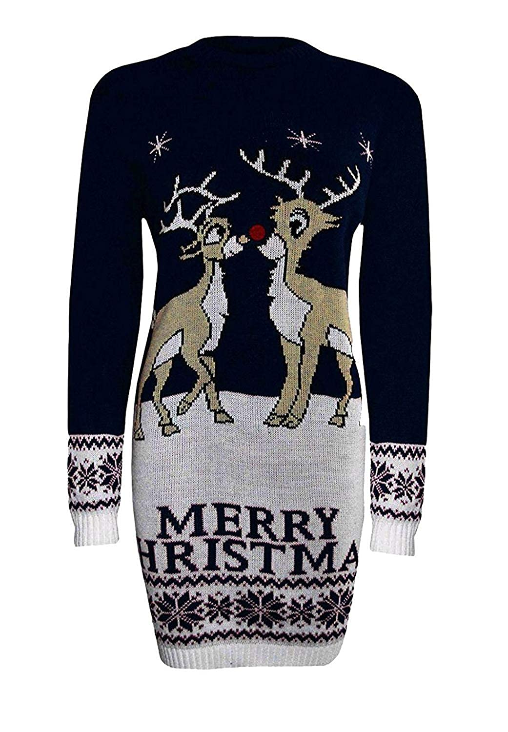 GirlzWalk Women Two Reindeer Merry Christmas Knitted Sweater Ladies Novelty Xmas Party Midi Tunic Jumper Dress