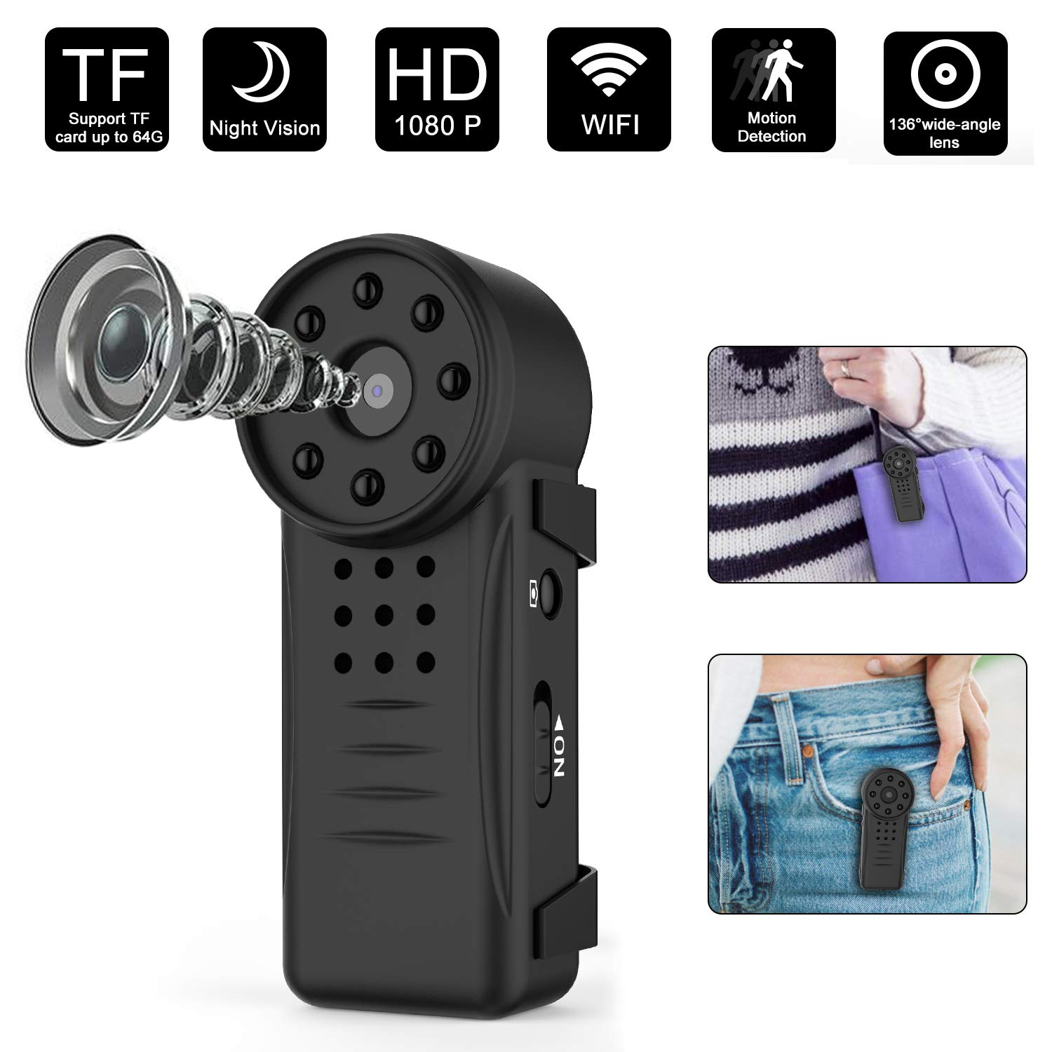 Mini Hidden Camera Spy Camera Wireless Hidden Camera True Hardware 1080P Mini Body Camera With 8 Night Vision Lights Portable Video Camera with Clip for Outdoor Indoor Nanny Cam, Phone PC Remote View