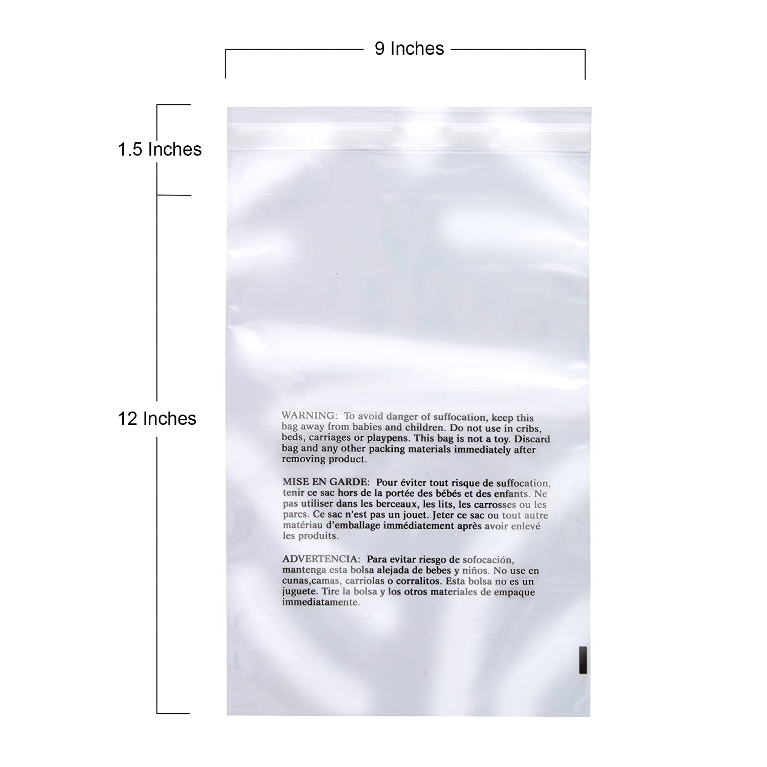 9x12 Resealable Retail Supply Co Clear Poly Bags with Suffocation Warning Multiple Size Options Available