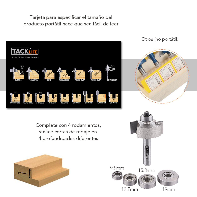 19 PCS Broca de Fresadora, Tacklife ARB03C Broca de Fresa, Vástago de 8mm, Fabricada de C3/YG6X, 15 Piezas de Fresa & 4 Rodamientos Intercambiables & Llave ...
