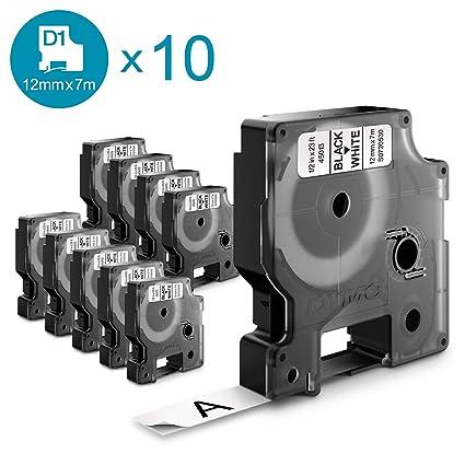 DYMO D1 - Etiquetas auténticas, impresión negra sobre fondo blanco, 12 mm × 7 m, etiquetas autoadhesivas para impresoras de etiquetas LabelManager, 10 ...
