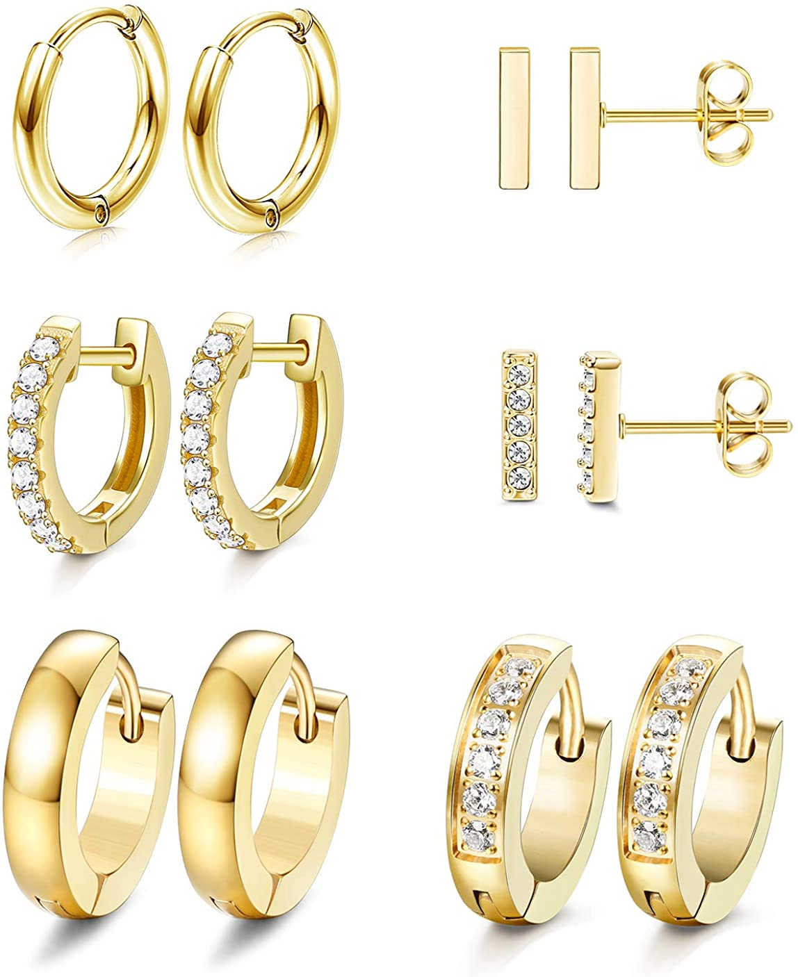 JOERICA 6 Pairs Hoop Huggie Earrings for Women Girls Minimalist Cuff Mini Bar Stud Earrings Gold Silver Cubic Zirconia Small Ear Piercing Set