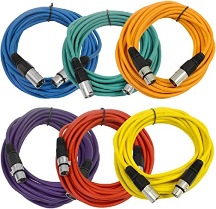 2/' Mic Patch Cords 8 Pack of Colored 2 Foot XLR Patch Cables Seismic Audio
