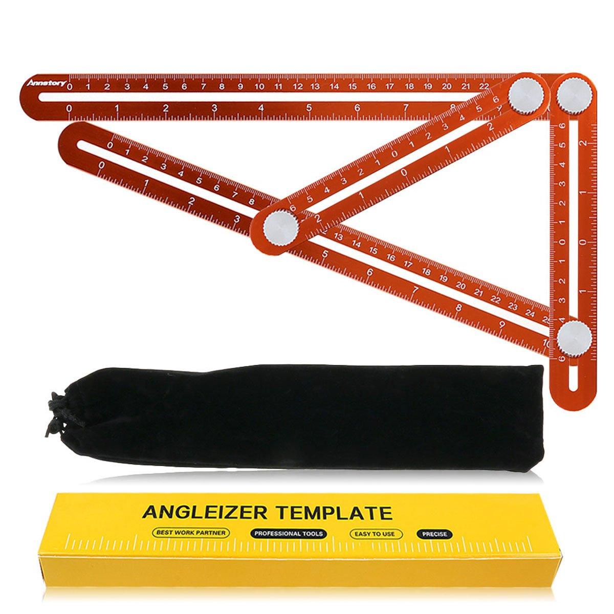 Multi Angle mesure souverain par l' outil de modè le de rè gle Annstory Premium aluminium alliage Angle facile avec niveau de ligne Unique pour bricolage, charpentiers, artisans robuste et Durable (Orange)