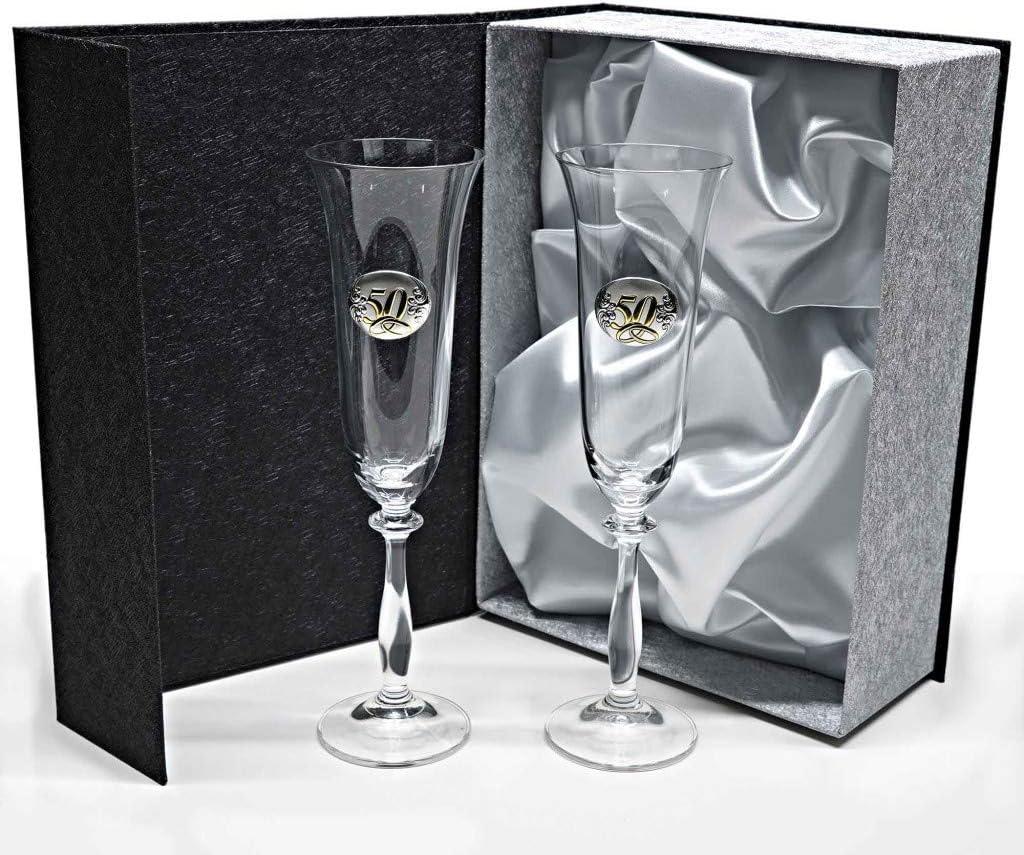 la galaica - Set de 2 Copas de Cristal de Champán Cava y Espumoso | Regalo para 50 Aniversario - Bodas de Oro y Plata | Angela | Incluye Aplique Bilaminado y Estuche de protección