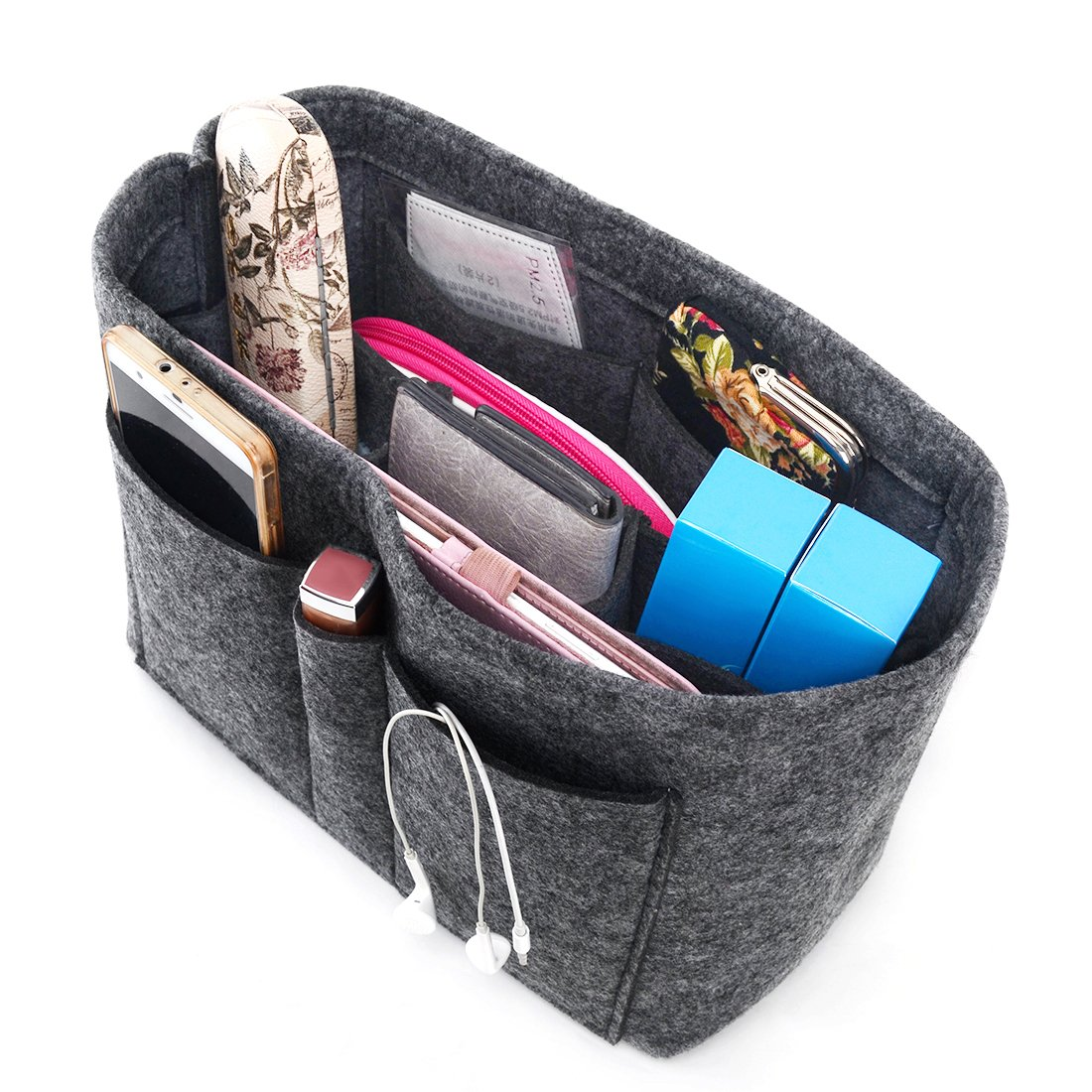 Enerhu Felt Insert Bags Handbag Tote Purse Organizer 10 Pockets Bag in Bag Backpack Travel Storage Pockets Grey L