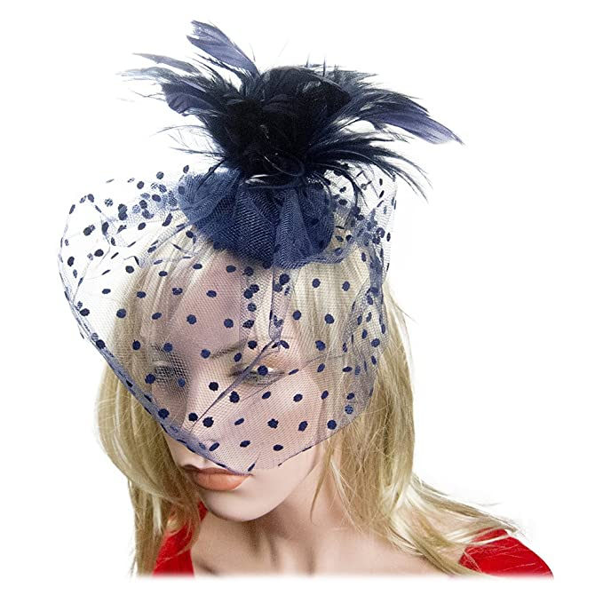 Feather Fascinator Flower Polka Dot Net Cocktail Hat Hair Clip in Navy Blue c0ea77f1939