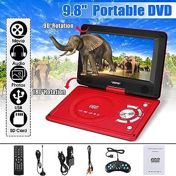 Reproductor de DVD portátil de 9.8 Pulgadas con batería de Litio Recargable de 270 Grados de