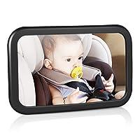 Rücksitzspiegel für Babys, Amzdeal bruchsicherer Spiegel für Auto Baby mit großem Sichtfeld, Babyspiegel ohne Einzelteile/Schrauben, 360° schwenkbar, Größe 300 x 190 x2,8mm