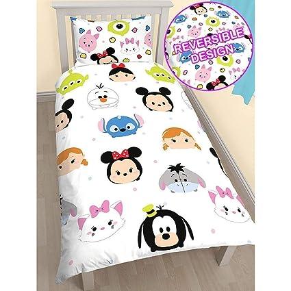 Character World Disney – Peluche Tsum Tsum Single Panel Duvet Set Cálida y Suave Saco de