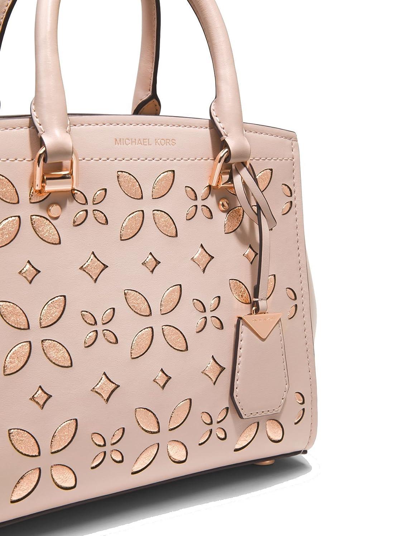 2cef4e0e0c13 Amazon.com: MICHAEL Michael Kors Benning Medium Perforated Leather Satchel  Bag, Soft Pink: Shoes