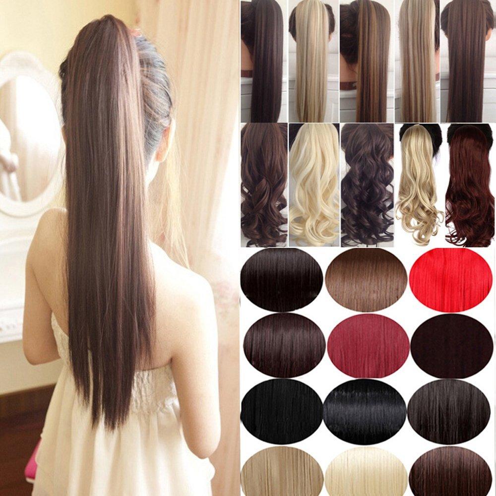"FUT Womens Ladies Wrap Around Velcro Ponytail Clip in on Hair Extensions 24"" straight Hairpiece Dark Brown"