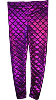 Crazy Chick/® Girls Children Fish Scale Mermaid Gold Holographic Slim Metallic Leggings Age 5-13 Years