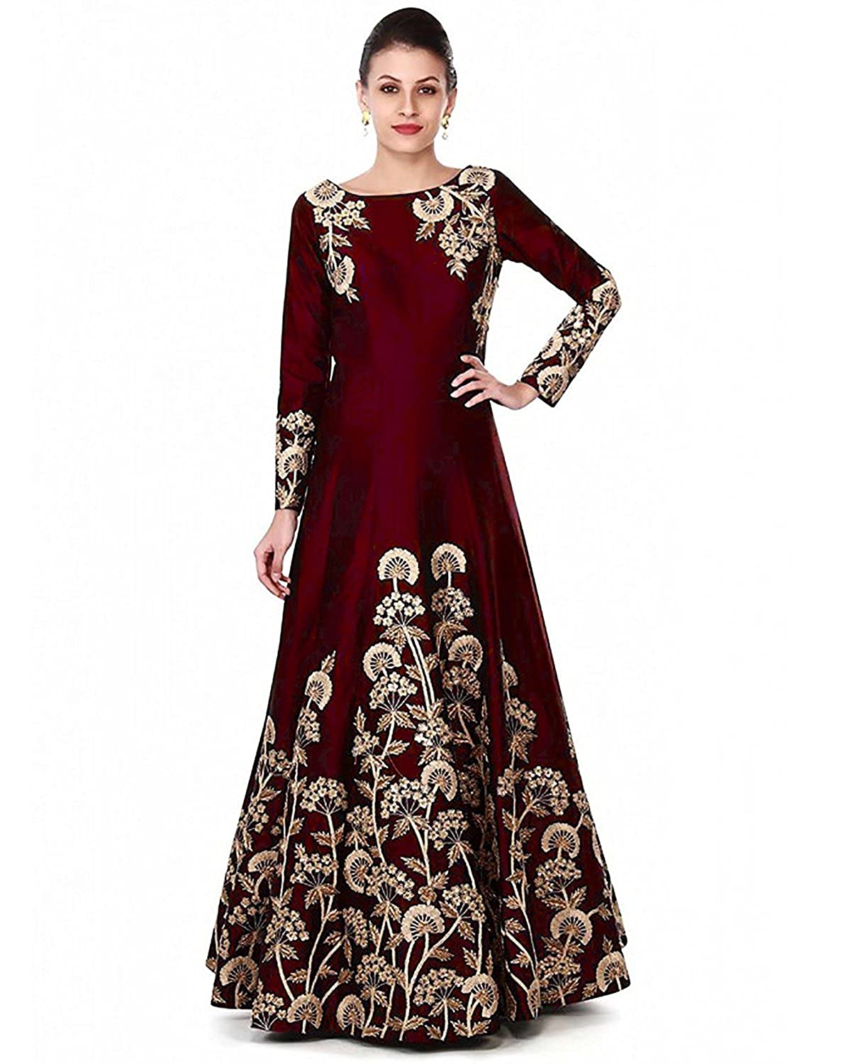 a2dd28199c Bhurakhiya Women's Maroon Color Taffeta Silk Embroidered & Coding Work Gown(Maroon_2158):  Amazon.in: Clothing & Accessories