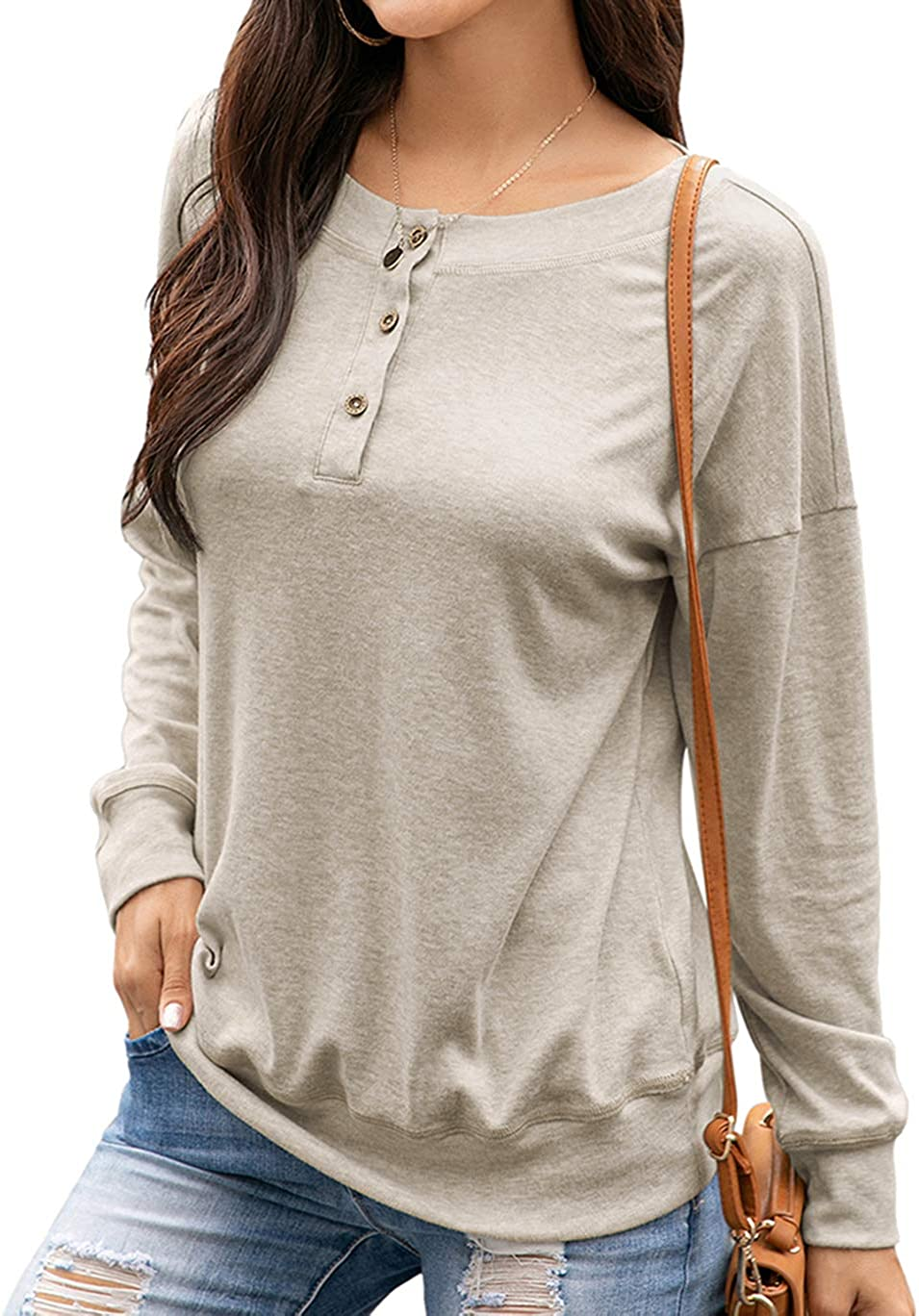 HAVANSIDY Womens T-Shirts Casual Crewneck Knited Long Sleeve Tops Solid Color Beige, XL