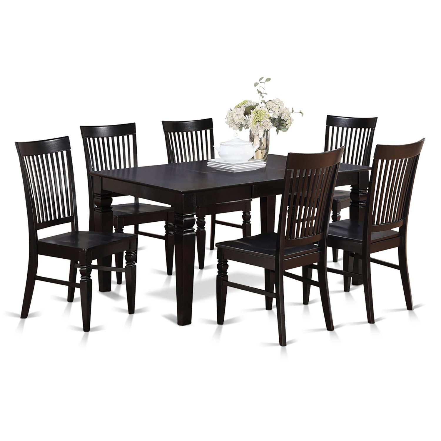 Black dining table and chairs - Amazon Com East West Furniture West7 Whi W 7 Piece Dining Table Set Kitchen Dining
