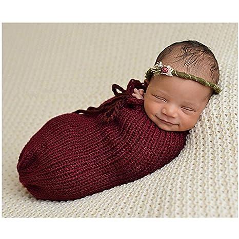 Bebé recién nacido fotografía apoyos niño Niña Crochet para adulto saco de dormir
