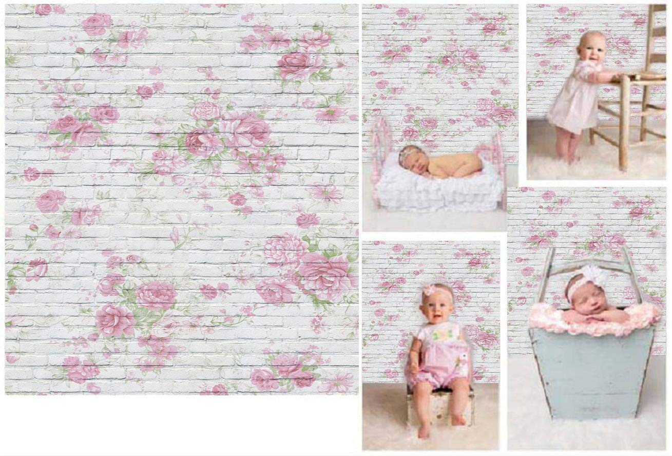 Laeacco 3x5ft Thin Vinyl Photography Backdrops Brick Florets Wall Baby Newborn Birthday Photo Background Studio Props 1x1.5meter