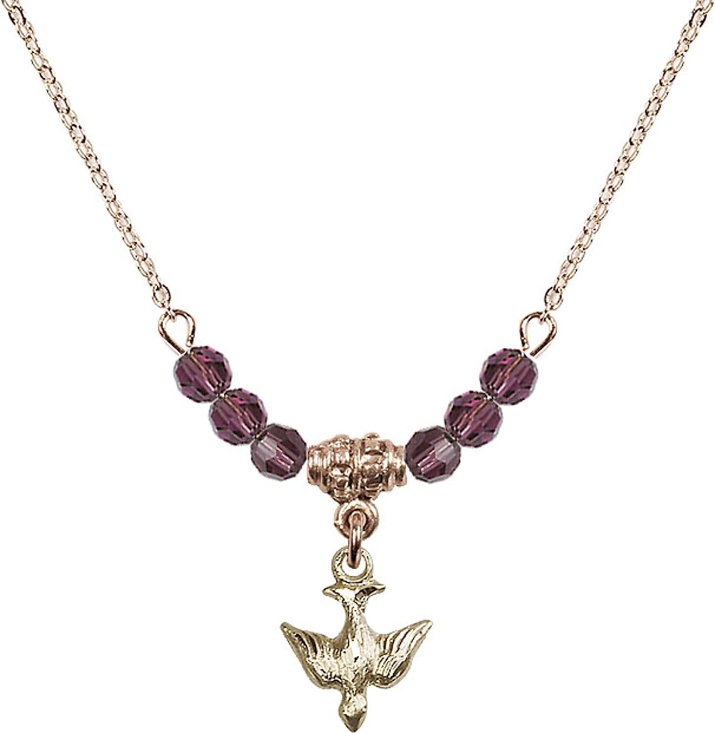 Bonyak Jewelry 18 Inch Hamilton Gold Plated Necklace w// 4mm Purple February Birth Month Stone Beads and Holy Spirit Charm