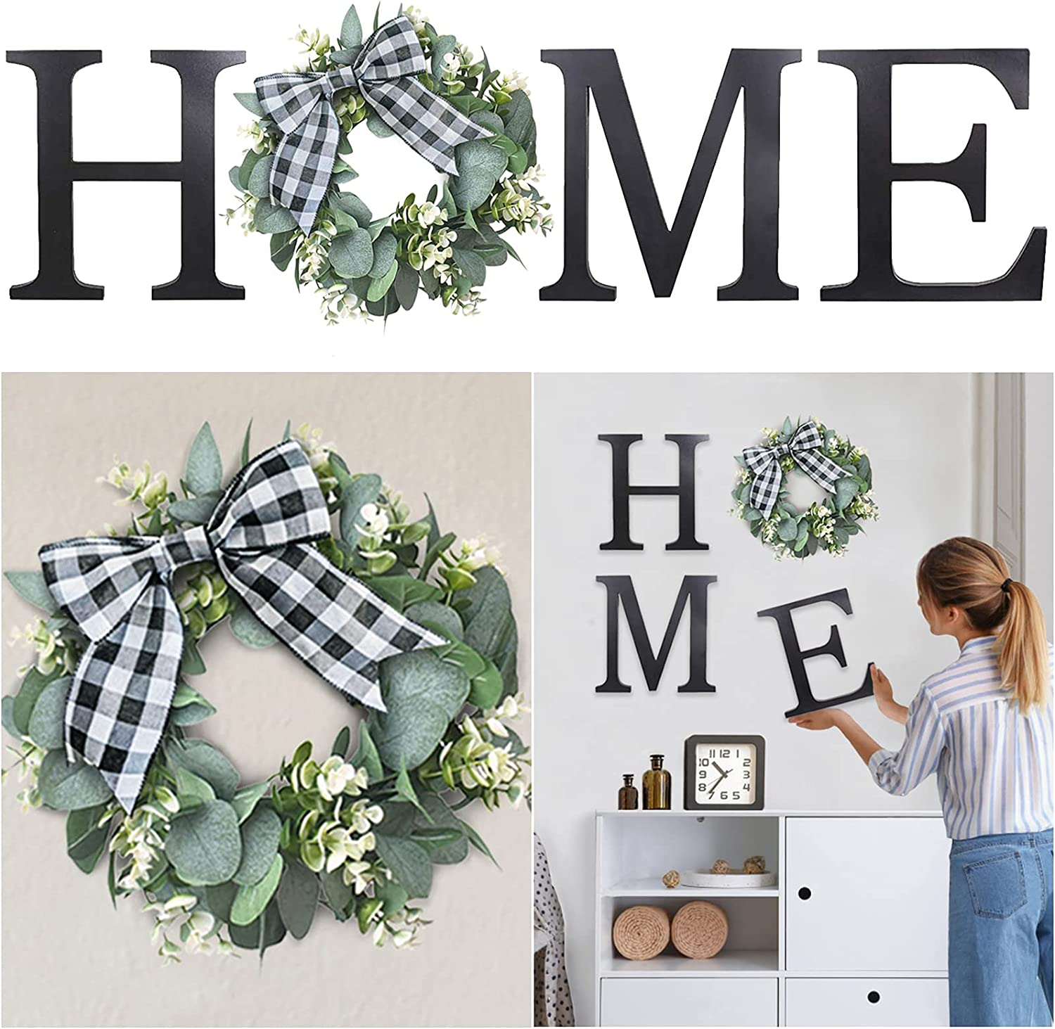 Cocomong Home Sign Wall Hanging Decor, Farmhouse Wood Letters for Wall Decor with Artificial Eucalyptus Wreath, Black Large Rustic Wall Decorations for Living Room Bedroom Dining Housewarming Gifts
