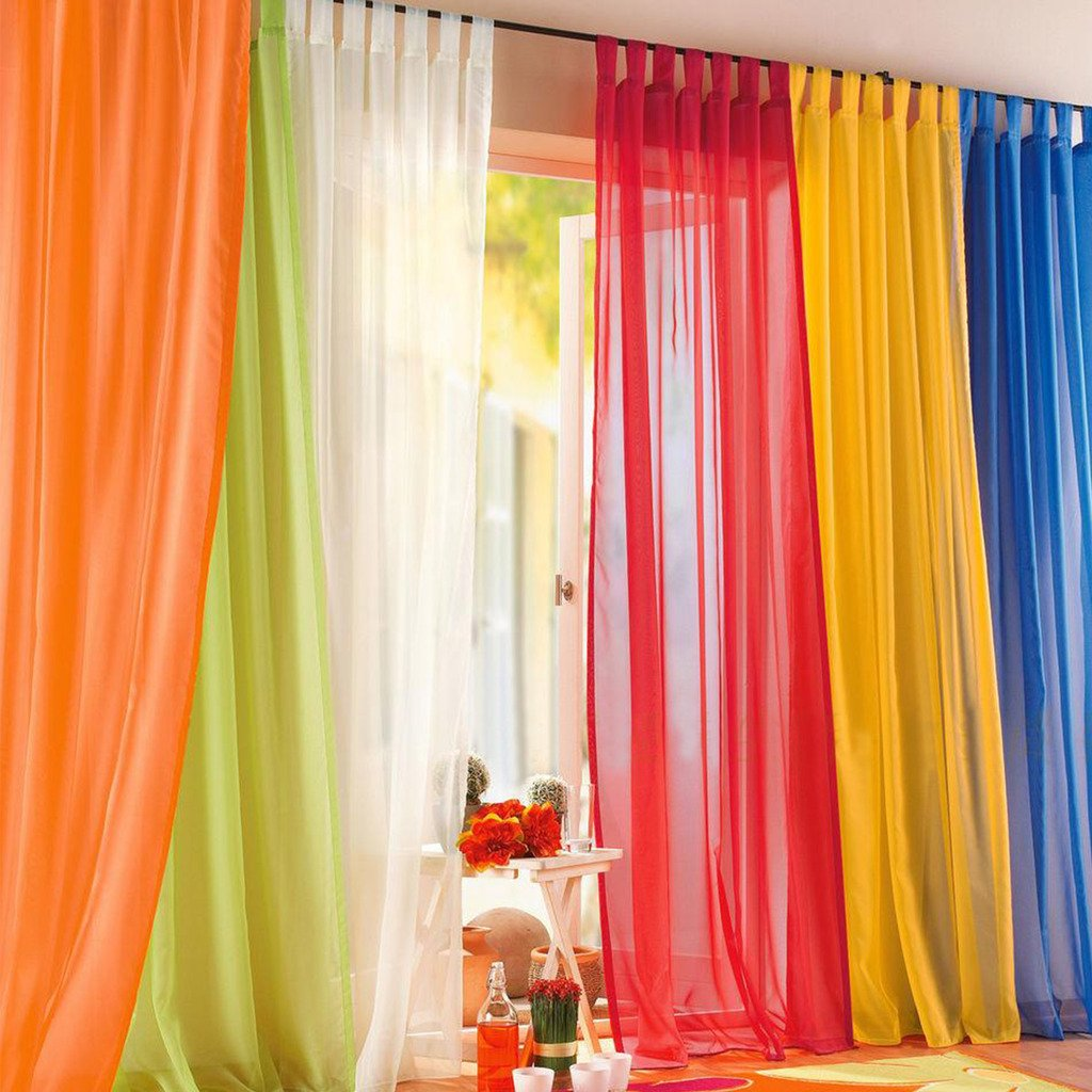 Amazon.com: 1pcs Sheer Curtain Tab Top Windows Curtains Panel For Bedroom  White 55x88