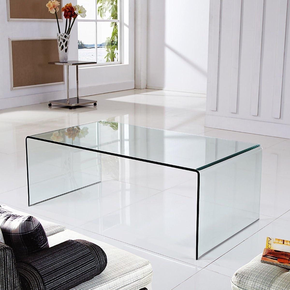 Arreditaly Tavolino Basso da Salotto Sala da Pranzo Soggiorno Ingresso Tavolo in Vetro Temperato Curvato Design Moderno Ed Elegante Luxury Z-56-120 x 60 x 40 Cm