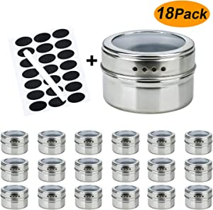 RUCKAE 18 Magnetic spice tins-stainless steel storage spice containers include spice label and pen,Clear Top Lid with Sift or Pour,Magnetic on Refrigerator and Grill