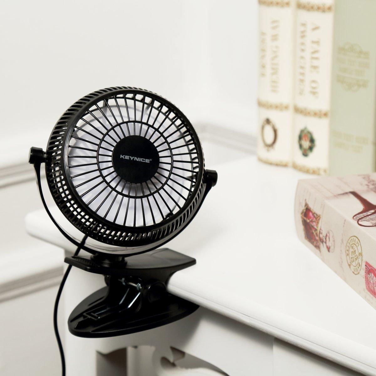 KEYNICE USB Clip Desk Personal Fan, Table Fans,Clip on Fan,2 in 1 Applications, Strong Wind, 2 in 1 Applications, Strong Wind, 4 inch 2 Speed Portable Cooling Fan USB Powered by Netbook, PC by KEYNICE (Image #4)