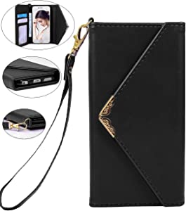 iPhone 6 Wallet Case,Crosspace iPhone 6s Envelope Flip Handbag Shell Women Wallet PU Leather Magnetic Folio Cover Cases with Credit Card ID Holders Wrist Strap for Apple iPhone 6/6s 4.7inch-Black