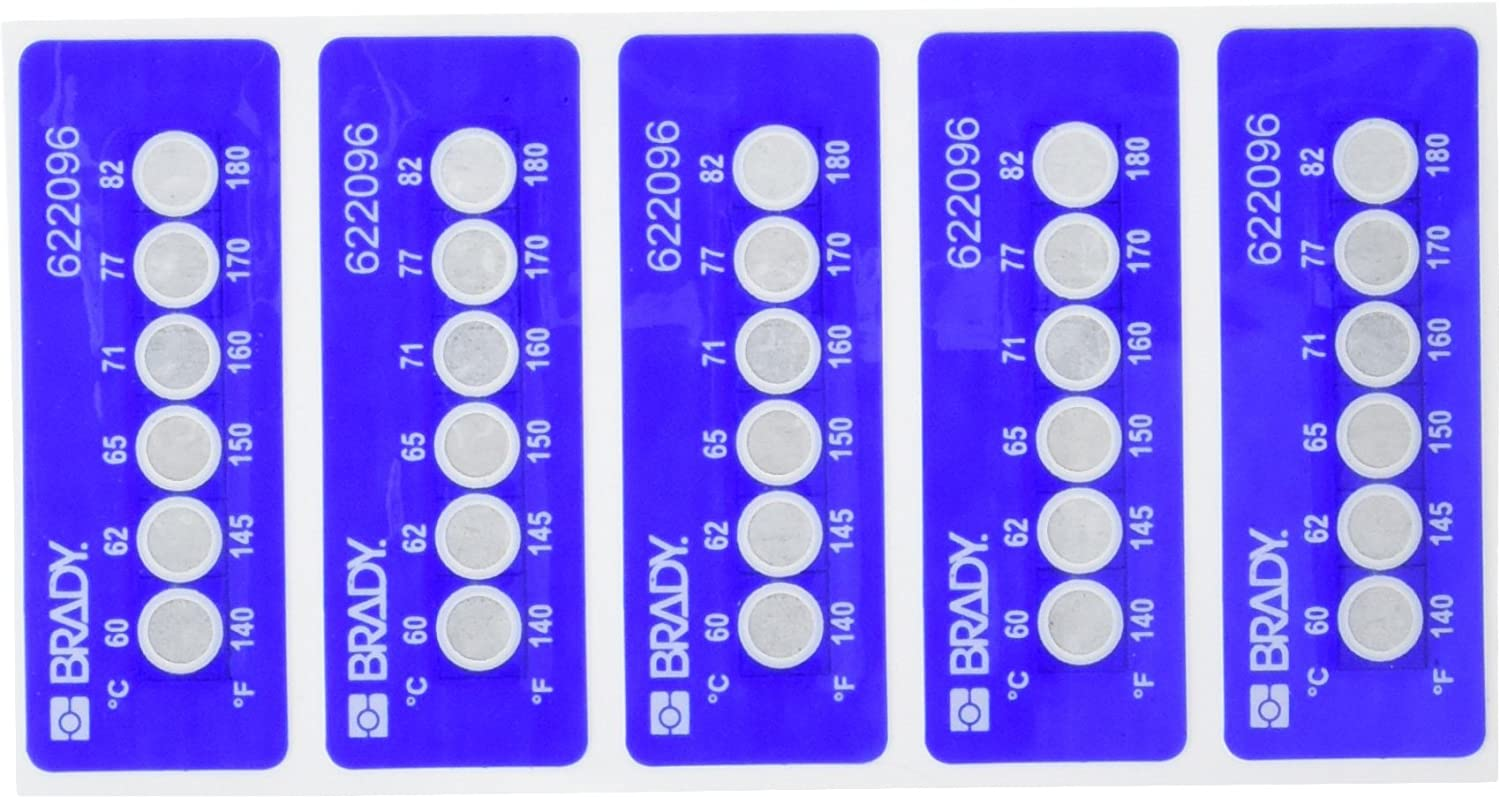Brady TIL-6-60C//140F 60C//140F Temperature-Indicating Label Polyester Pack of 30 0.787 H x 2.205 W White on Blue 0.787 H x 2.205 W