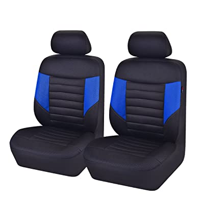 CAR PASS 6PCS Super Universal Automobile Front Seat Covers Set Package-Fit for Vehicles,Black and Gray with Composite Sponge Inside,Airbag Compatiable (Black and Blue): Automotive