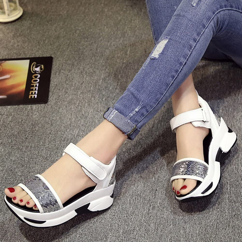 Angelliu Womens Casual Bling Sequins Scale Open-Toe Platform Wedges Sandals Sports Trainers Silver