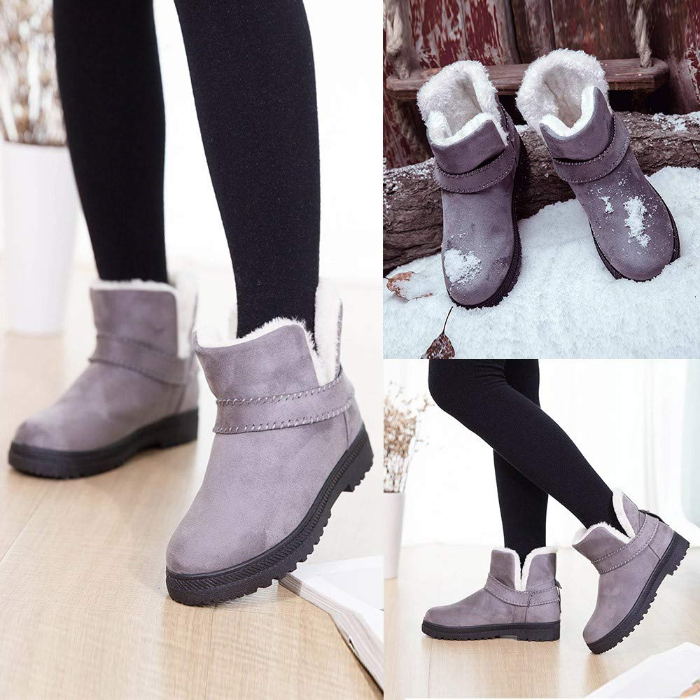 04a77b51aa8 Gyoume Women Winter Slip On Boots Ankle Boots Keep Warm Boots Shoes ...