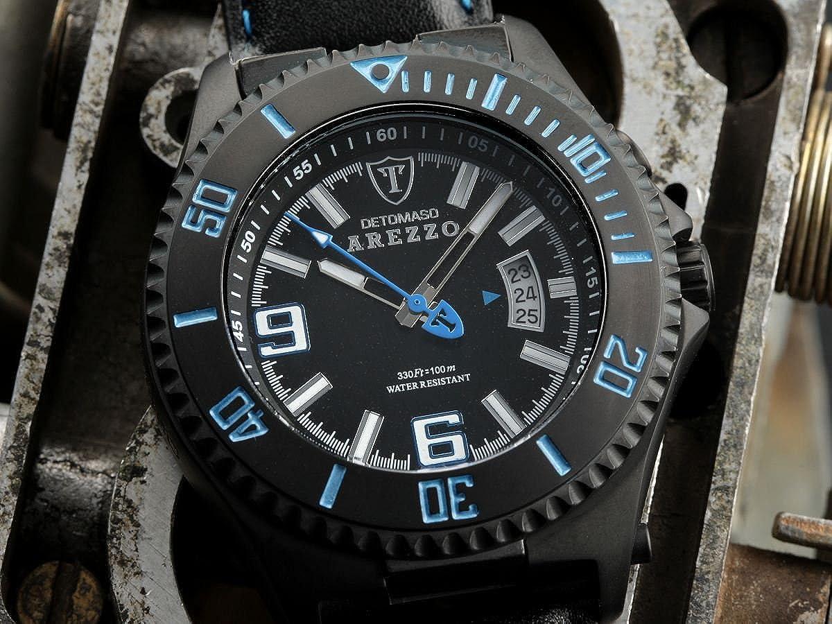 DeTomaso Arezzo Dt1004-C - Reloj de caballero de cuarzo, correa de piel color negro: Amazon.es: Relojes