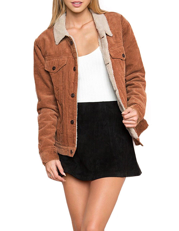 HaoDuoYi Womens Fashion Faux Fur Collar Corduroy Coat Winter Jacket(XXL) by HaoDuoYi (Image #1)