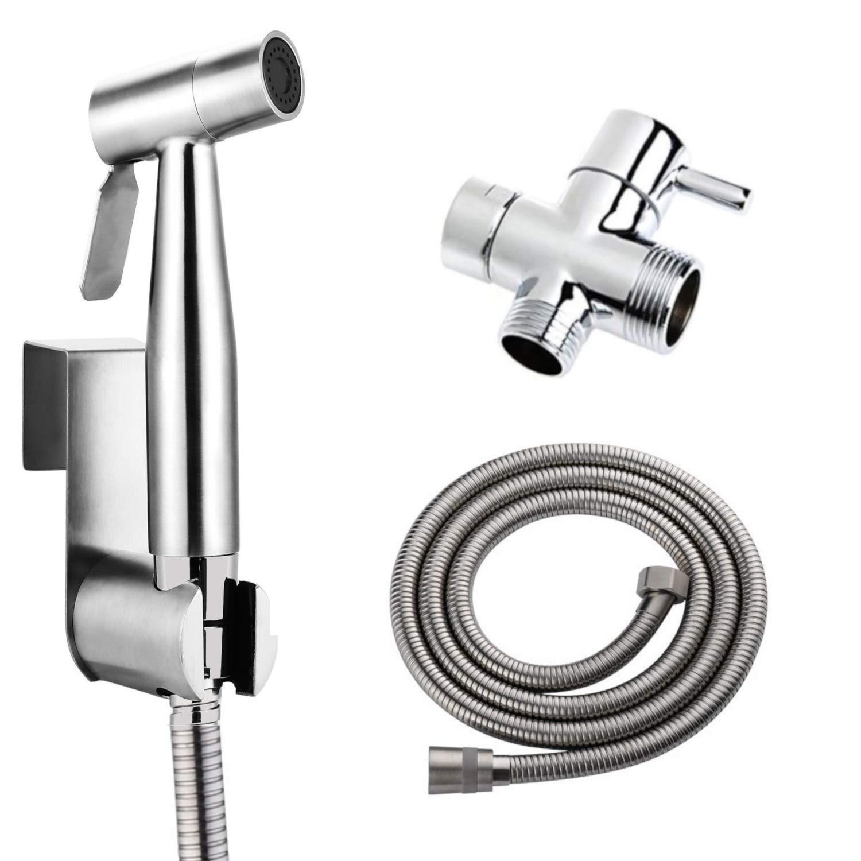 BbfStyle - SUS 304 - Kit doccetta WC con valvola a 3 vie (3/8-12/17 mm) - Doccia wc set per l'igiena intima - Finitura nichel spazzolato - Taharet Taharat Yuhuan Gee-N Sanitary