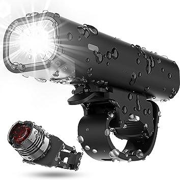 TEMINICE Juego de Luces para Bicicleta Recargables por USB, 8 Horas y 400 lúmenes, superbrillantes, Luces Delanteras y traseras, 4 Modos de luz para Todas Las Bicicletas, montañas, Carreteras: Amazon.es: Deportes y