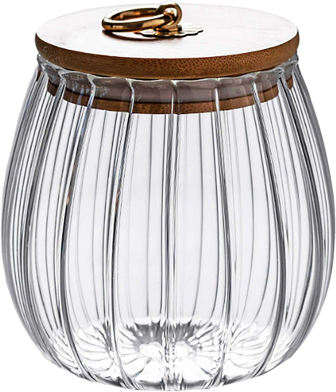 Glass Coffee Tea Canister Airtight Sotrage Jar Petal Decorative Container with Bamboo Lid Metal Handle Easy to Grasp 700ml (23oz)