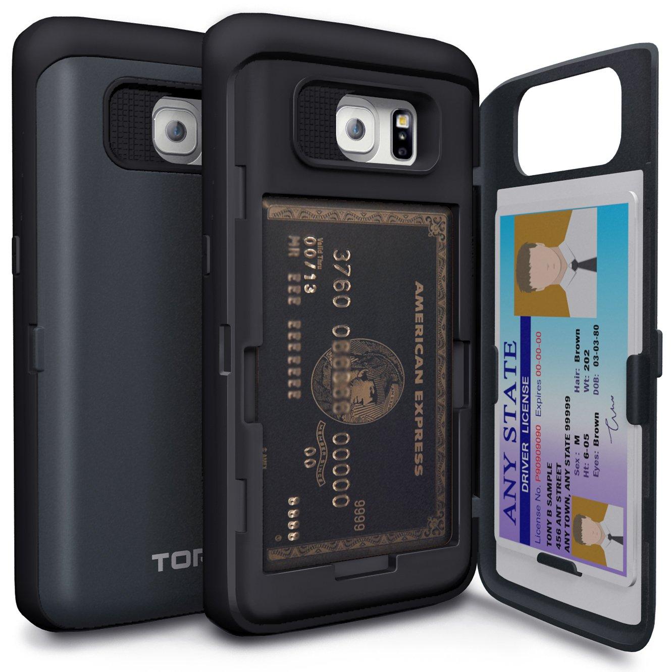 promo code 2c900 5f54d TORU CX PRO Galaxy S6 Edge Wallet Case Dark Blue with Hidden ID Slot Credit  Card Holder Hard Cover & Mirror for Samsung Galaxy S6 Edge - Metal Slate